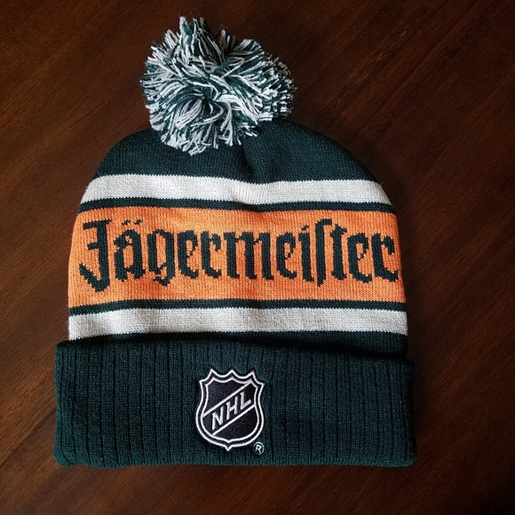Jagermeister cap...Black with White Jagermeister...NEW Knit Winter Style hat